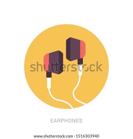 Earphones icon vector. earphones vector graphic illustration. Yellow theme concept