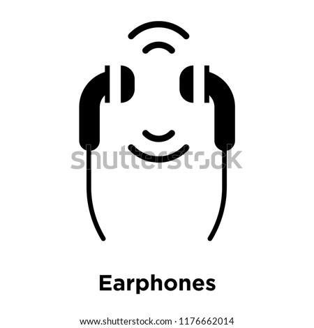 Earphones icon vector isolated on white background, logo concept of Earphones sign on transparent background, filled black symbol