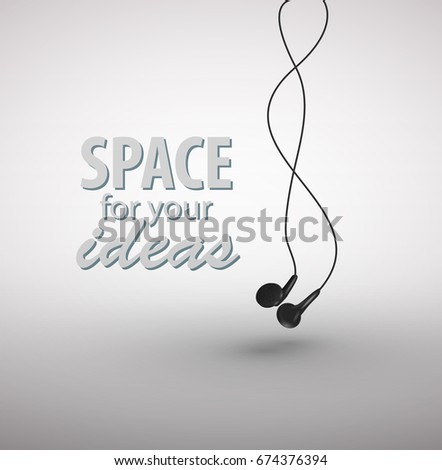 Earphones isolated on white background. Vector Illustration EPS10