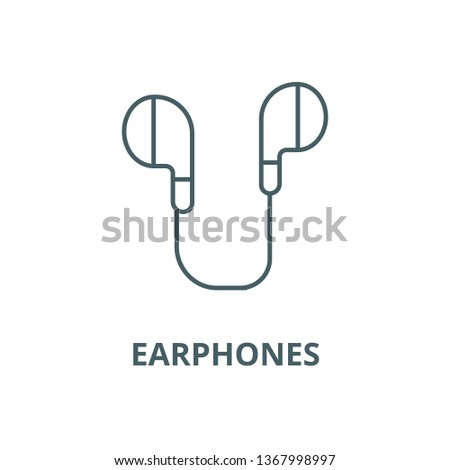 Earphones line icon, vector. Earphones outline sign, concept symbol, flat illustration