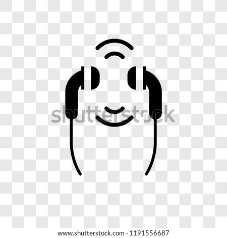 Earphones vector icon isolated on transparent background, Earphones transparency logo concept