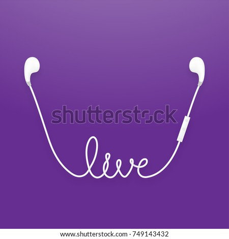 Earphones wireless and remote, earbud type white color and live text made from cable isolated on violet gradient background, with copy space