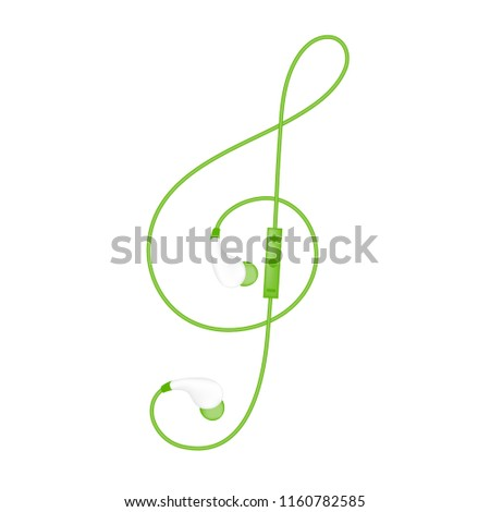 Earphones wireless and remote, In Ear type green color and Treble Clef shape made from cable isolated on white background, with copy space