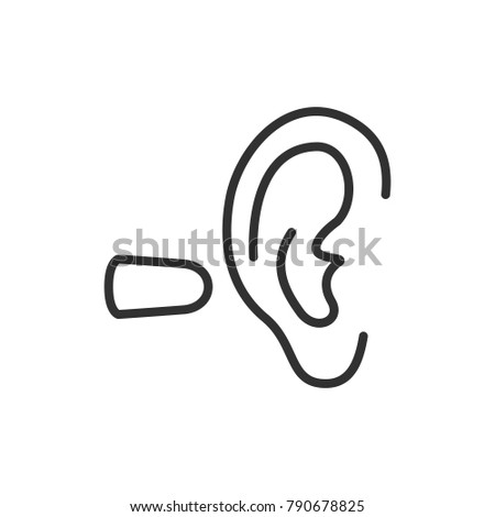 earplug. linear icon. Line with Editable stroke