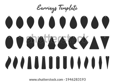 Earring shape template Black shadow of earrings with circular hoops for cut out handmade earrings. Foto stock ©