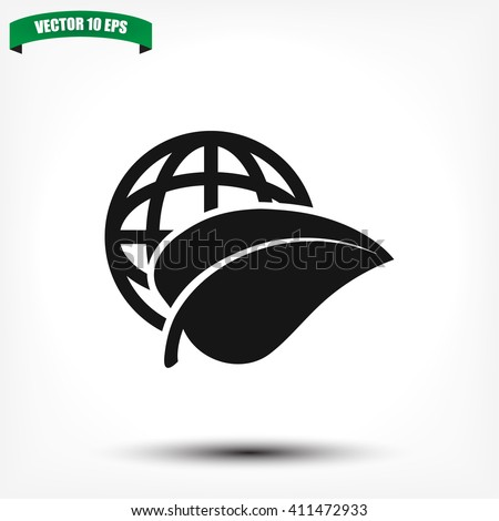 earth and leaf icon vector