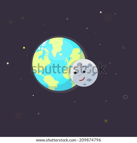 earth and moon love   vector