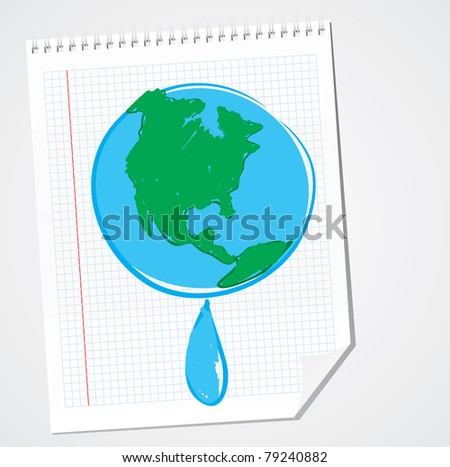 Earth and raindrop - stock vector