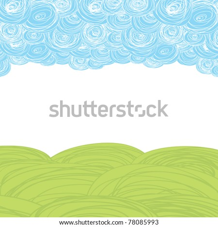 Earth and sky. Abstract scribble background with copy-space.