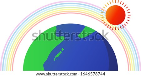 earth and sun and rainbow