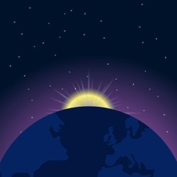 Earth and sunrise in space. Vector illustration
