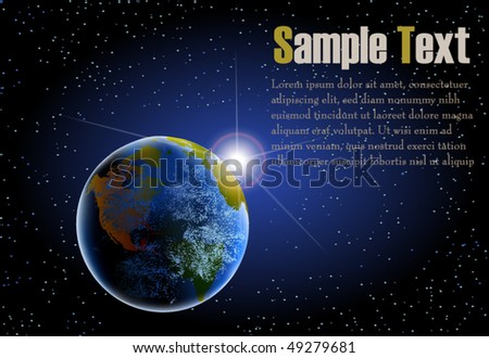 Earth as seen from space with rising sun background in landscape