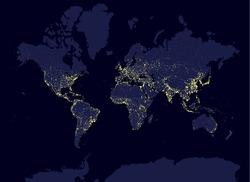 Earth at night world map, earth day concept, world population biggest cities. Glow infografic elements. Urbanization and globalisation idea. yello neon luminanse. Hud elements
