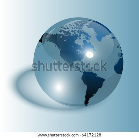 Earth blue, transparent glass, vector.