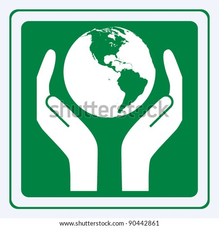 Earth care sign vector