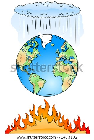 Earth, cloud and fire isolated on the white - stock vector