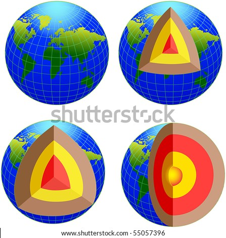 earth cross section   vector