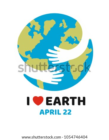 Earth day April 22 illustration. Vector on white