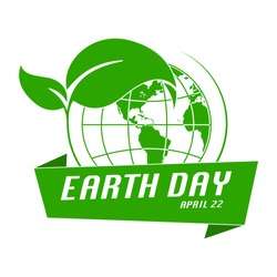 Earth Day banner. Happy earthday flat logo. Save the planet earth concept.