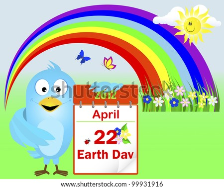 Earth Day. Blue Bird with icon a calendar with flowers and ladybird against rainbow with butterflies. Vector 10 eps.