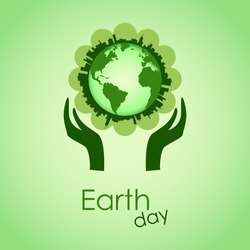 Earth Day Card. Happy Earth Day. 22 of April. Hands holding earth ball. World Environment Day background. Planet in human hands, Earth Day concept. Vector illustration