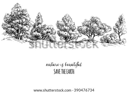 Earth day card, trees sketch