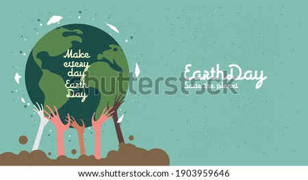 Earth Day. Caring for Nature. International Mother Earth Day. Environmental problems and environmental protection. Flat vector illustration.