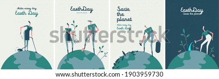 Earth Day. Caring for Nature. International Mother Earth Day. Environmental problems and environmental protection. Vector illustration. Set of vector illustrations