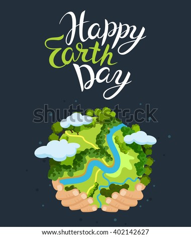 Earth day concept. Human hands holding floating globe in space. Save our planet. Flat style vector isolated illustration. Foto stock ©