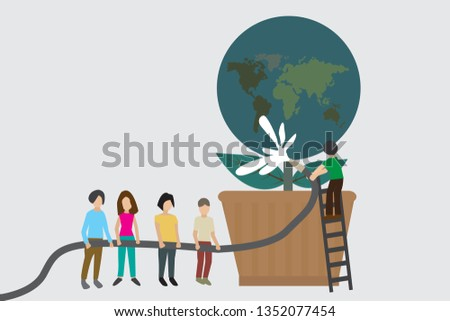 Earth day concept with people conservation the earth,vector illustration.