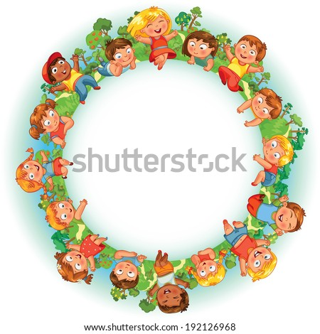Earth Day. Cute little kids show a blank poster for your text entry. Vector illustration