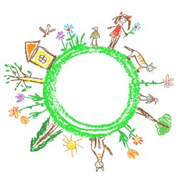 Earth day eco friendly concept. Like child`s hand drawn doodle colorful vector art. World ecology globe planet. Save nature. Crayon, pencil, chalk stroke art. Green day. Home, girl, kid, animal around