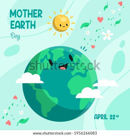 Earth Day. Eco-friendly concept. Vector illustration. Earth day concept. World environment day greeting. Save the earth. Happy Mother Earth Day post greeting. Save our planet.