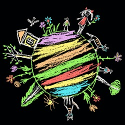Earth day eco friendly. Like kids hand drawn doodle colorful vector art on black board. World ecology globe planet. Save nature. Crayon, pencil, chalk stroke Green art. Home, tree, kid, animal around