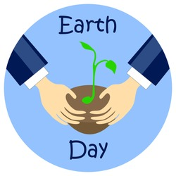 Earth day flat style vector illustration, earth day picture, earth day print, earth day sticker, earth day hands, earth day planting tree, earth day care hands, earth day action, earth day banner icon