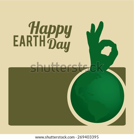 earth day green planet ok hand