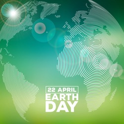 Earth Day illustration with abstract stripe texture planet and lettering. World map background on april 22 environment concept. Vector design for banner, poster or greeting card.
