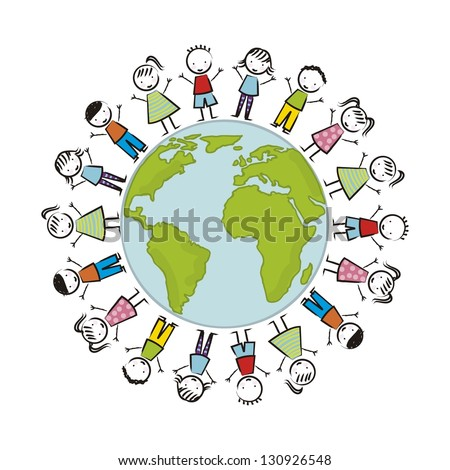 earth day illustration with children over white background. vector