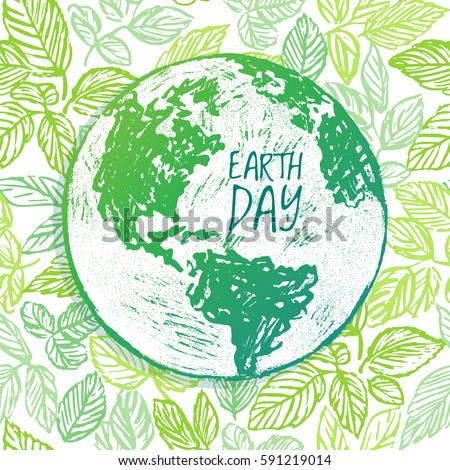 earth day ink hand drawn