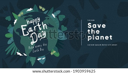 Earth Day. International Mother Earth Day. Earth in green. Environmental problems and environmental protection. Flat vector illustration.