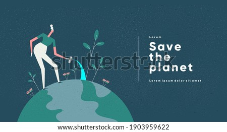 Earth Day. International Mother Earth Day. Environmental problems and environmental protection. Caring for Nature. Flat vector illustration.