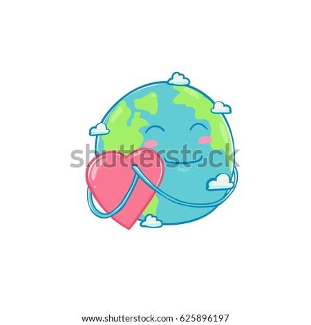 earth day love vector cartoon