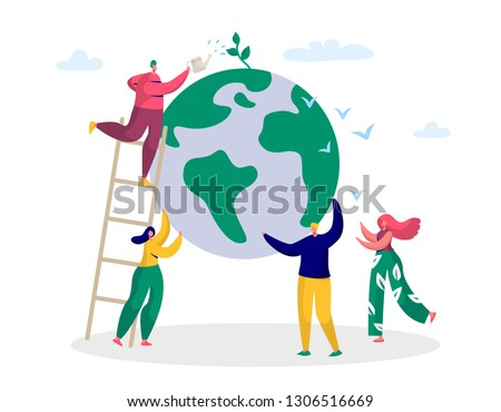 Earth Day Man Save Green Planet Environment. People of World Water Plant for Ecology Celebration Preparation in April. Nature Globe Ecology Protect Concept Flat Cartoon Vector Illustration