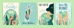 Earth Day. Save Nature. Vector templates for card, poster, banner, flyer. Design element