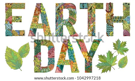 Earth day. Vector decorative zentangle object
