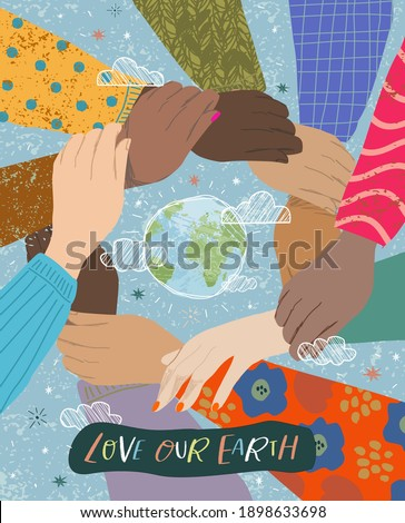 Earth Day! Vector illustration on the theme of love, ecology and protection of our planet earth, protecting the hands of people. Social poster or freehand drawing