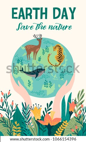Earth Day. Vector template for card, poster, banner, flyer Design element