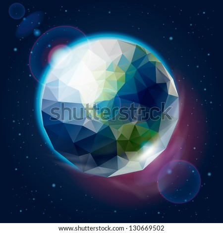 Earth globe as icosahedron, vector illustration.