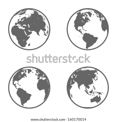 earth globe emblem icon set