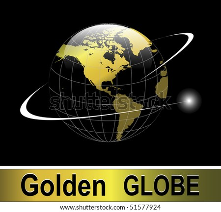 Earth globe gold with orbit over black background